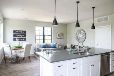 Lamphouse Kitchen island and living room area